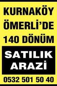 Kurnaköy Ömerli'de 140 dönüm Satılık Arazi.
